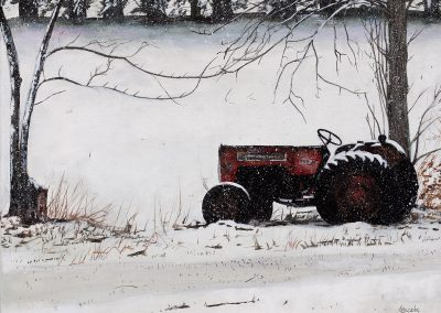Winter Tractor  14 x18 Acrylic